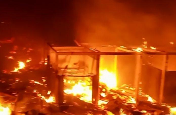 Kebakaran pasar Purwodadi Arga Makmur
